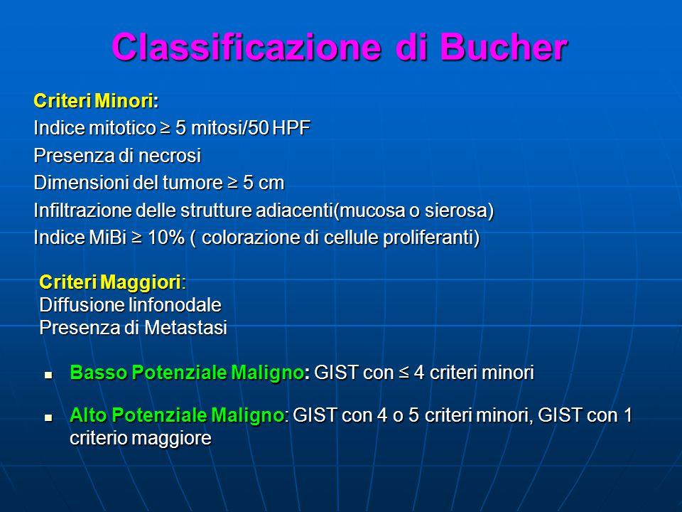 Classificazione di Bucher Criteri Minori: Indice mitotico 5 mitosi/50 HPF Presenza di necrosi Dimensioni del tumore 5 cm Infiltrazione delle strutture