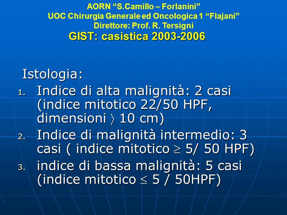 GIST: casistica 2003-2006 Istologia: Istologia: 1. Indice di alta malignità: 2 casi (indice mitotico 22/50 HPF, dimensioni 10 cm) 2. Indice di maligni
