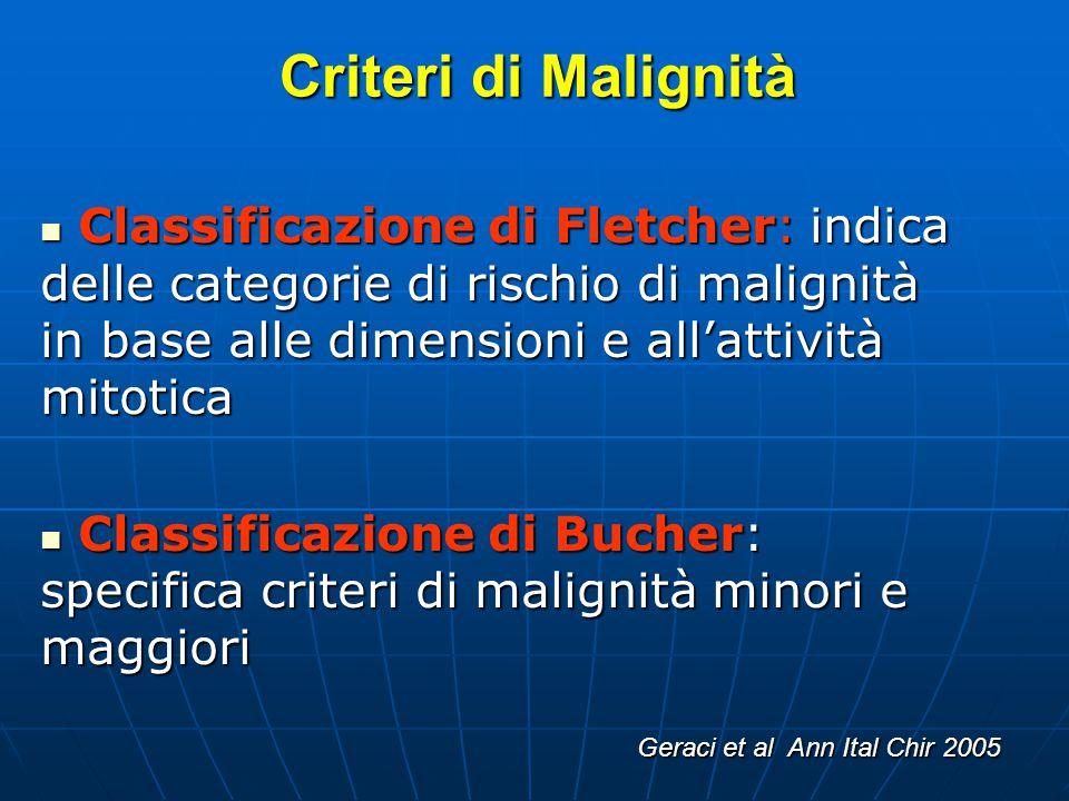 Criteri di Malignità Classificazione di Fletcher: indica delle categorie di rischio di malignità in base alle dimensioni e allattività mitotica Classi