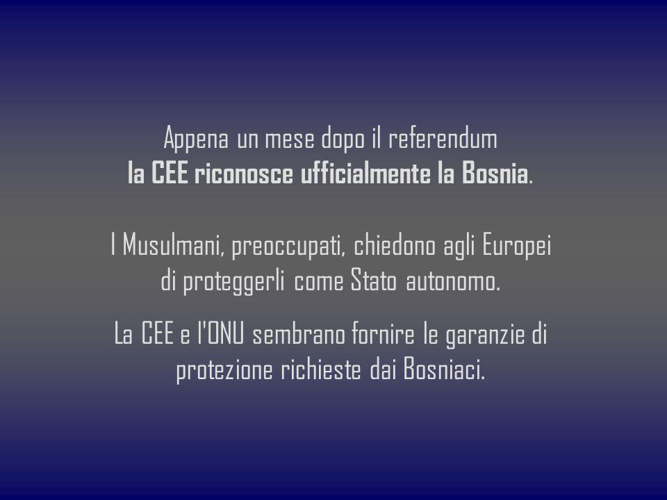 Appena un mese dopo il referendum la CEE riconosce ufficialmente la Bosnia. I Musulmani, preoccupati, chiedono agli Europei di proteggerli come Stato