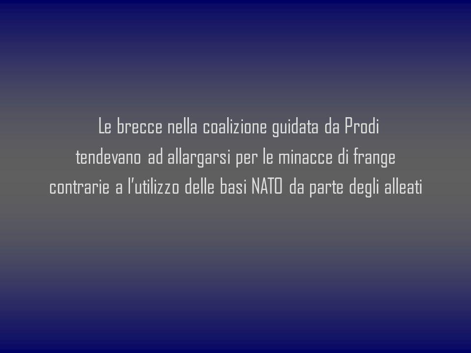 Le brecce nella coalizione guidata da Prodi tendevano ad allargarsi per le minacce di frange contrarie a lutilizzo delle basi NATO da parte degli alle
