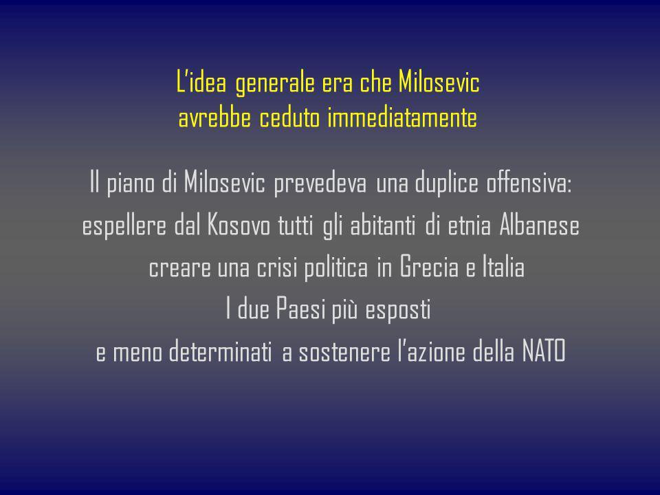 Lidea generale era che Milosevic avrebbe ceduto immediatamente Il piano di Milosevic prevedeva una duplice offensiva: espellere dal Kosovo tutti gli a