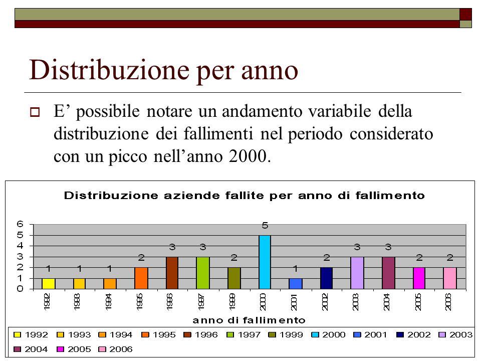 Distribuzione per anno E possibile notare un andamento variabile della distribuzione dei fallimenti nel periodo considerato con un picco nellanno 2000.
