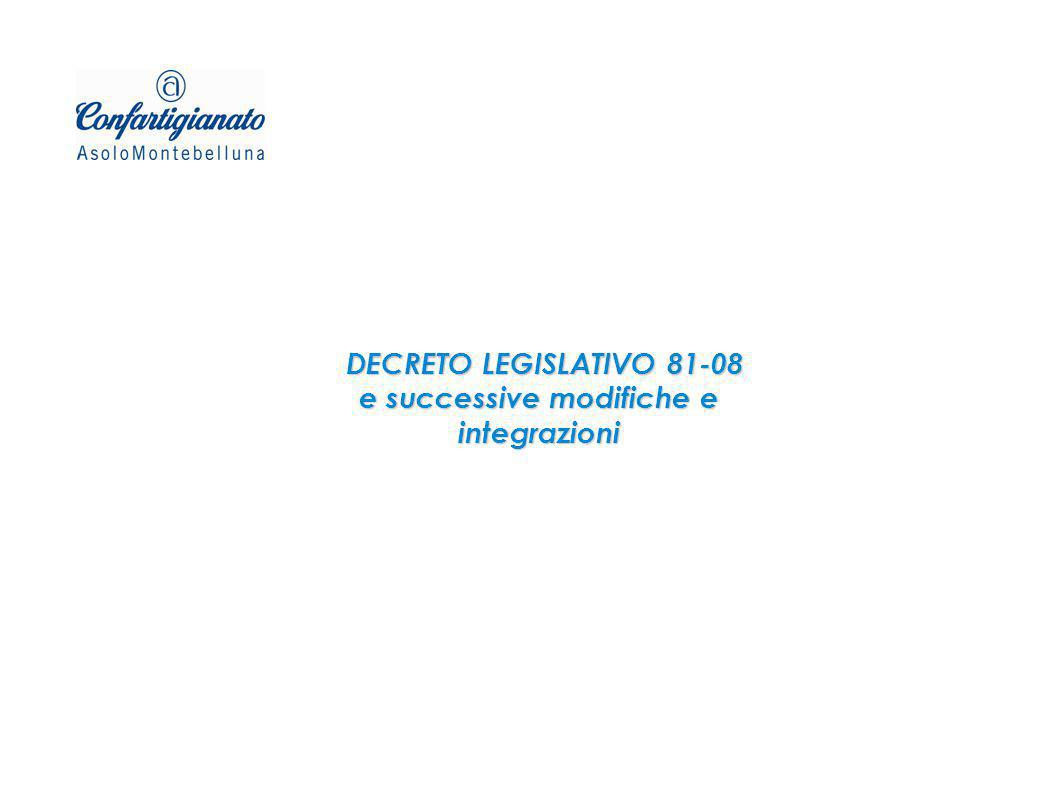 DECRETO LEGISLATIVO 81-08 e successive modifiche e integrazioni