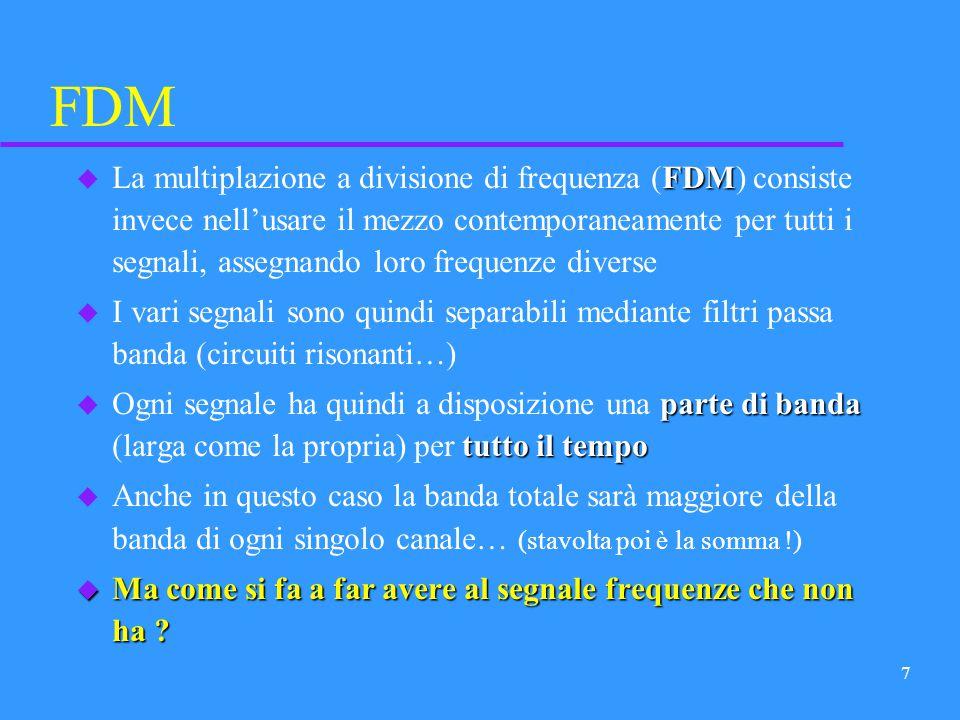 6 TDM TDM u La multiplazione a divisione di tempo (TDM) consiste nellusare il mezzo alternativamente, in rapida rotazione, un po per ciascun canale (c