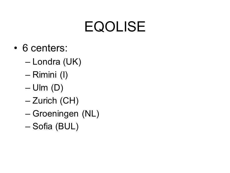 EQOLISE 6 centers: –Londra (UK) –Rimini (I) –Ulm (D) –Zurich (CH) –Groeningen (NL) –Sofia (BUL)