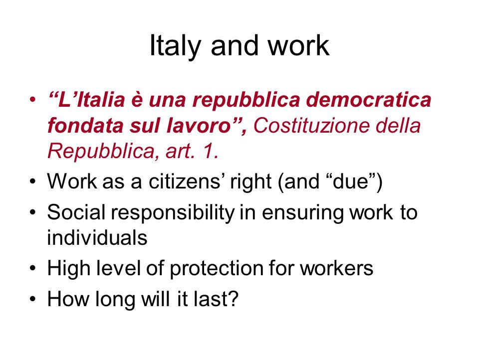 Italy and work LItalia è una repubblica democratica fondata sul lavoro, Costituzione della Repubblica, art.