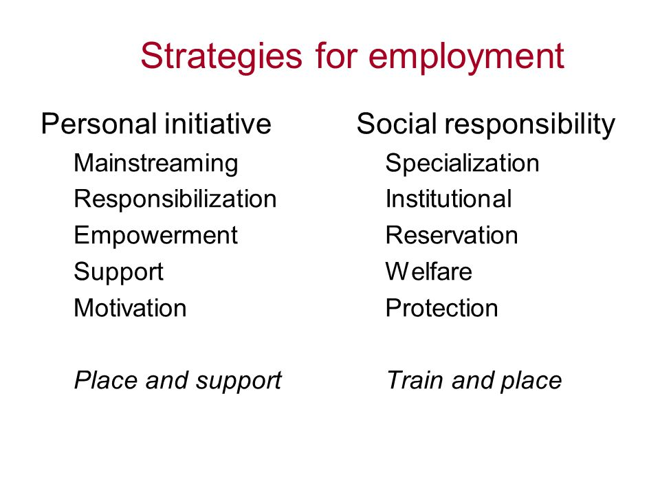 Strategies for employment Personal initiative Mainstreaming Responsibilization Empowerment Support Motivation Place and support Social responsibility –Specialization –Institutional –Reservation –Welfare –Protection –Train and place