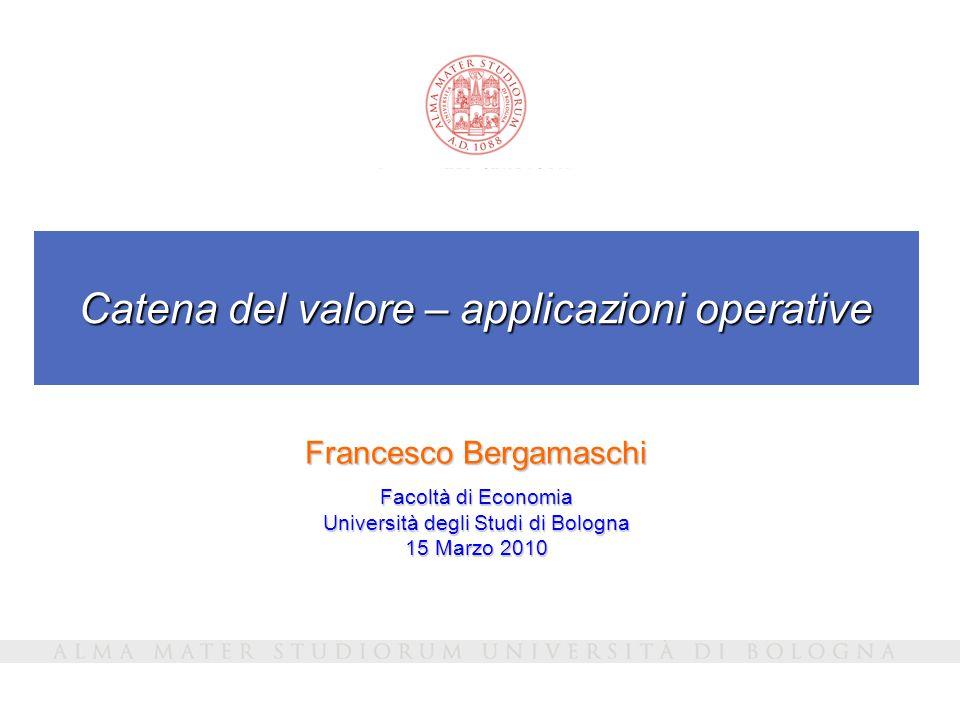 Catena del valore – applicazioni operative Francesco Bergamaschi Facoltà di Economia Università degli Studi di Bologna 15 Marzo 2010