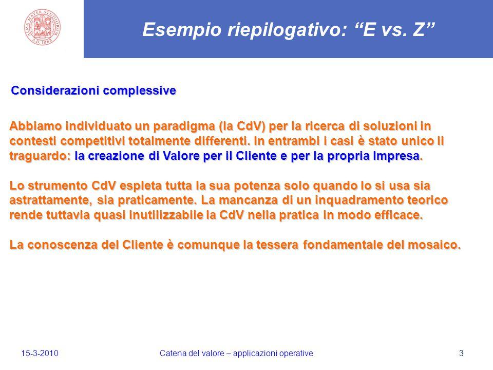 3 Considerazioni complessive Esempio riepilogativo: E vs.