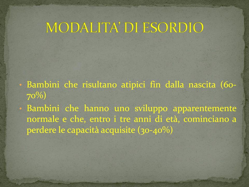 09/03/12 MODALITA DI ESORDIO