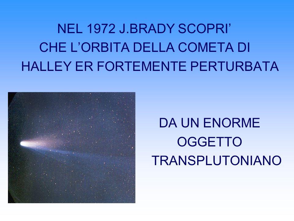 NEL 1972 J.BRADY SCOPRI CHE LORBITA DELLA COMETA DI HALLEY ER FORTEMENTE PERTURBATA DA UN ENORME OGGETTO TRANSPLUTONIANO