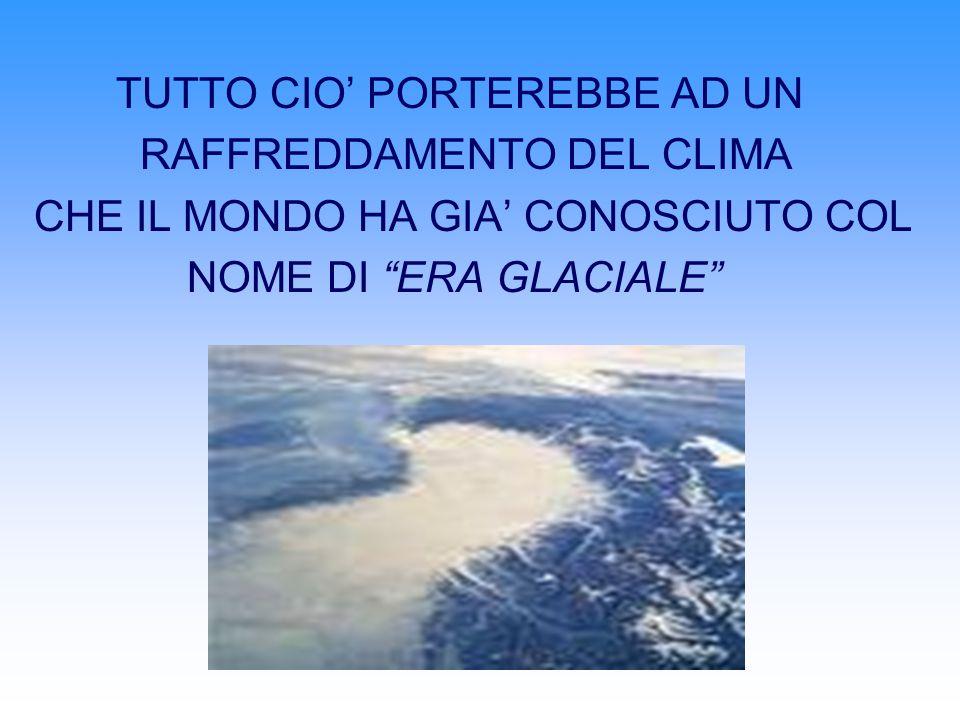 TUTTO CIO PORTEREBBE AD UN RAFFREDDAMENTO DEL CLIMA CHE IL MONDO HA GIA CONOSCIUTO COL NOME DI ERA GLACIALE