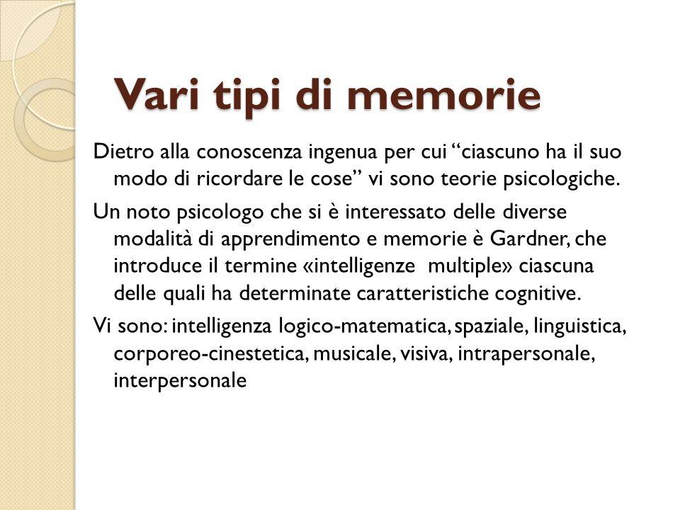 Vari tipi di memorie Dietro alla conoscenza ingenua per cui ciascuno ha il suo modo di ricordare le cose vi sono teorie psicologiche.