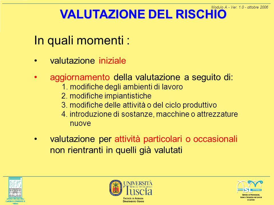 Modulo A - Ver. 1.0 - ottobre 2006 VALUTAZIONE DEL RISCHIO In quali momenti : valutazione iniziale aggiornamento della valutazione a seguito di: 1. mo