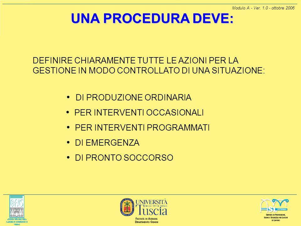 Modulo A - Ver. 1.0 - ottobre 2006 UNA PROCEDURA DEVE: UNA PROCEDURA DEVE: DEFINIRE CHIARAMENTE TUTTE LE AZIONI PER LA GESTIONE IN MODO CONTROLLATO DI