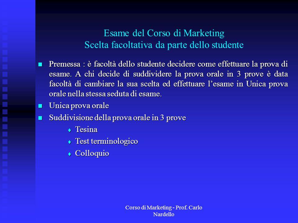 Corso di Marketing - Prof. Carlo Nardello Esame del Corso di Marketing Scelta facoltativa da parte dello studente Premessa : è facoltà dello studente