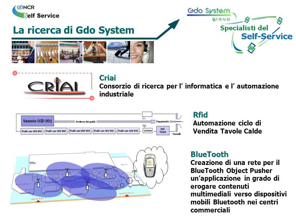 La ricerca di Gdo System Criai Consorzio di ricerca per l informatica e l automazione industriale Rfid Automazione ciclo di Vendita Tavole Calde BlueT
