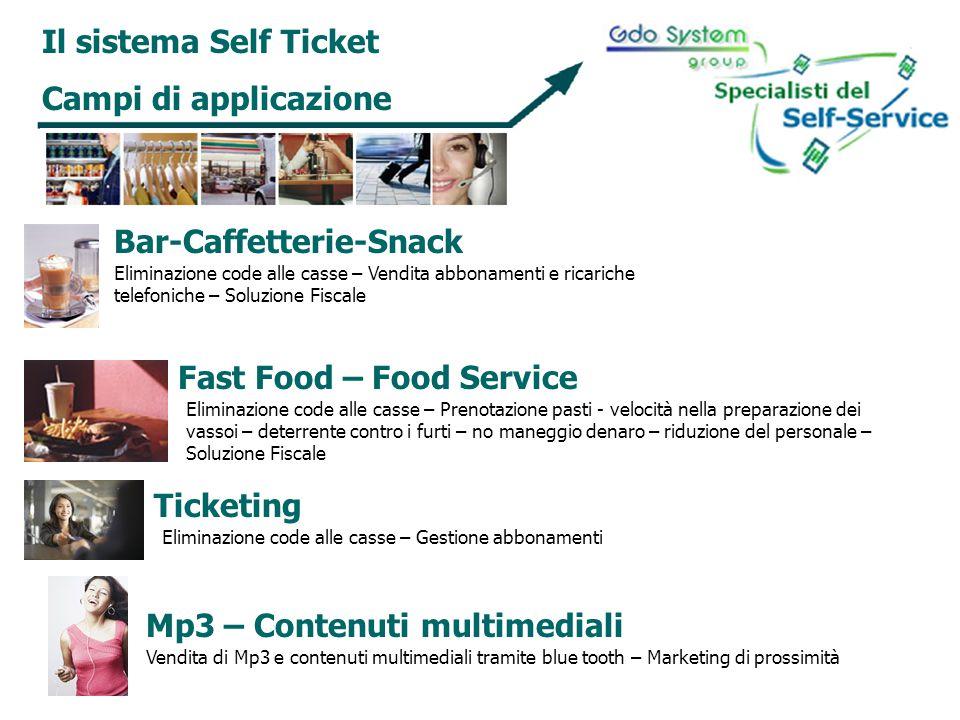 Il sistema Self Ticket Campi di applicazione Bar-Caffetterie-Snack Eliminazione code alle casse – Vendita abbonamenti e ricariche telefoniche – Soluzi