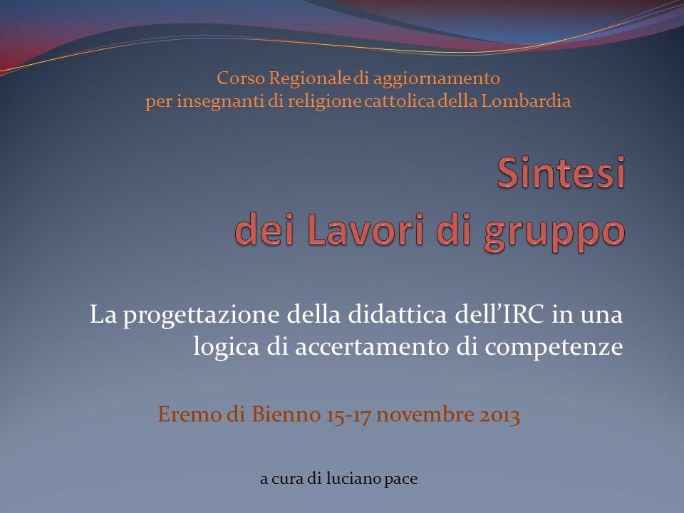 Corso Regionale di aggiornamento per insegnanti di religione cattolica della Lombardia La progettazione della didattica dellIRC in una logica di accer