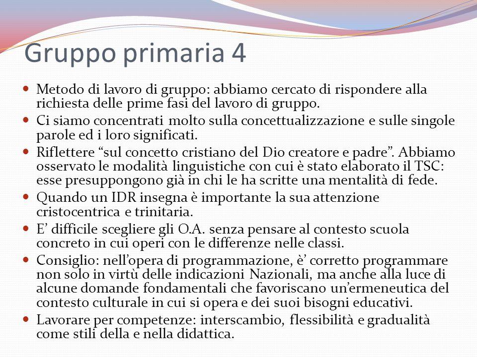 Gruppo primaria 4 Metodo di lavoro di gruppo: abbiamo cercato di rispondere alla richiesta delle prime fasi del lavoro di gruppo. Ci siamo concentrati