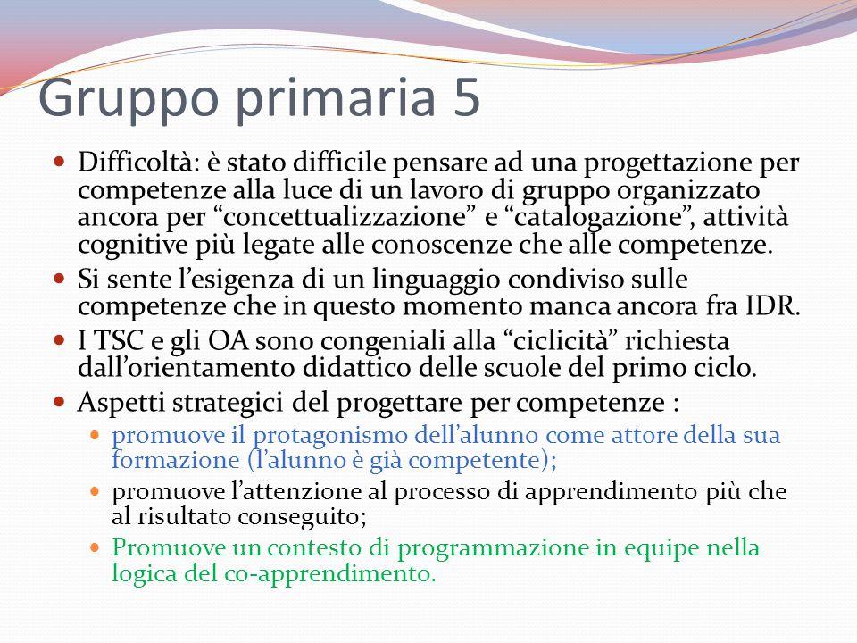 Gruppo primaria 5 Difficoltà: è stato difficile pensare ad una progettazione per competenze alla luce di un lavoro di gruppo organizzato ancora per co