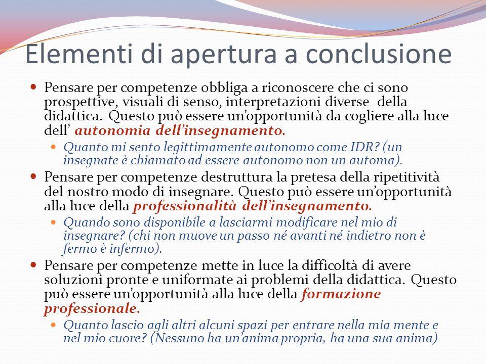 Elementi di apertura a conclusione Pensare per competenze obbliga a riconoscere che ci sono prospettive, visuali di senso, interpretazioni diverse del