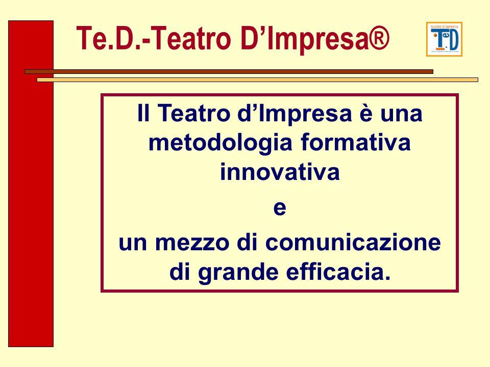 Il Teatro dImpresa è una metodologia formativa innovativa e un mezzo di comunicazione di grande efficacia. Te.D.-Teatro DImpresa®