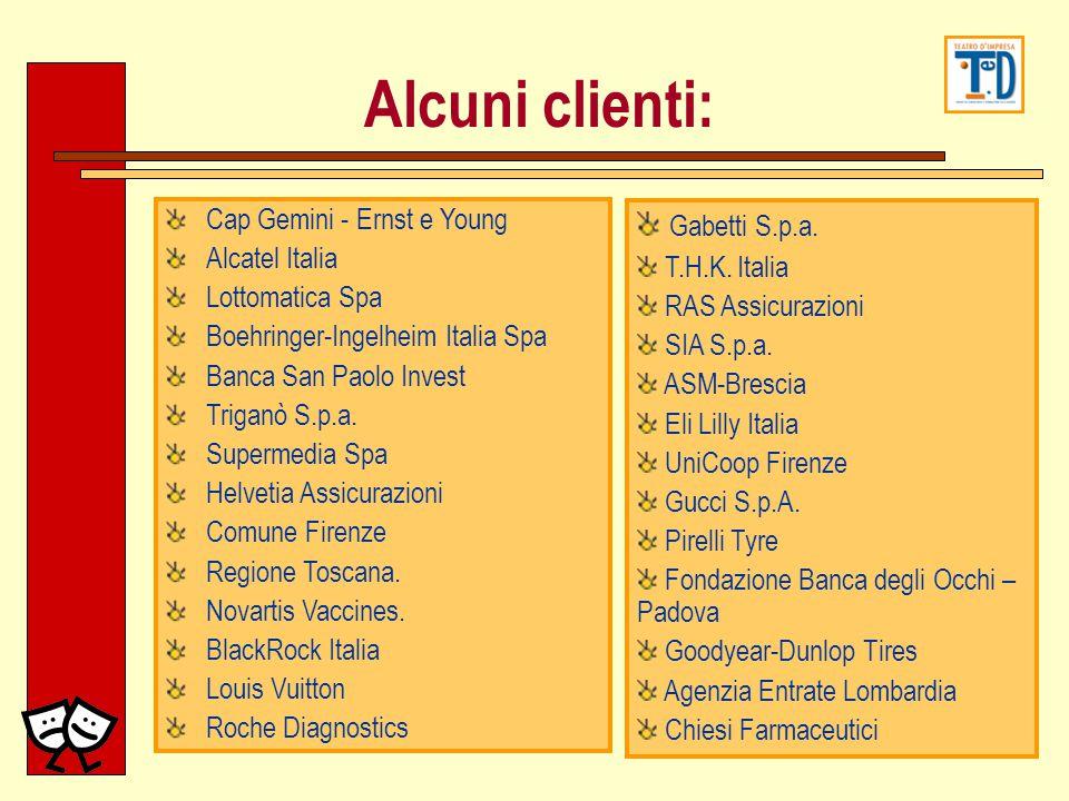 Alcuni clienti: Cap Gemini - Ernst e Young Alcatel Italia Lottomatica Spa Boehringer-Ingelheim Italia Spa Banca San Paolo Invest Triganò S.p.a. Superm