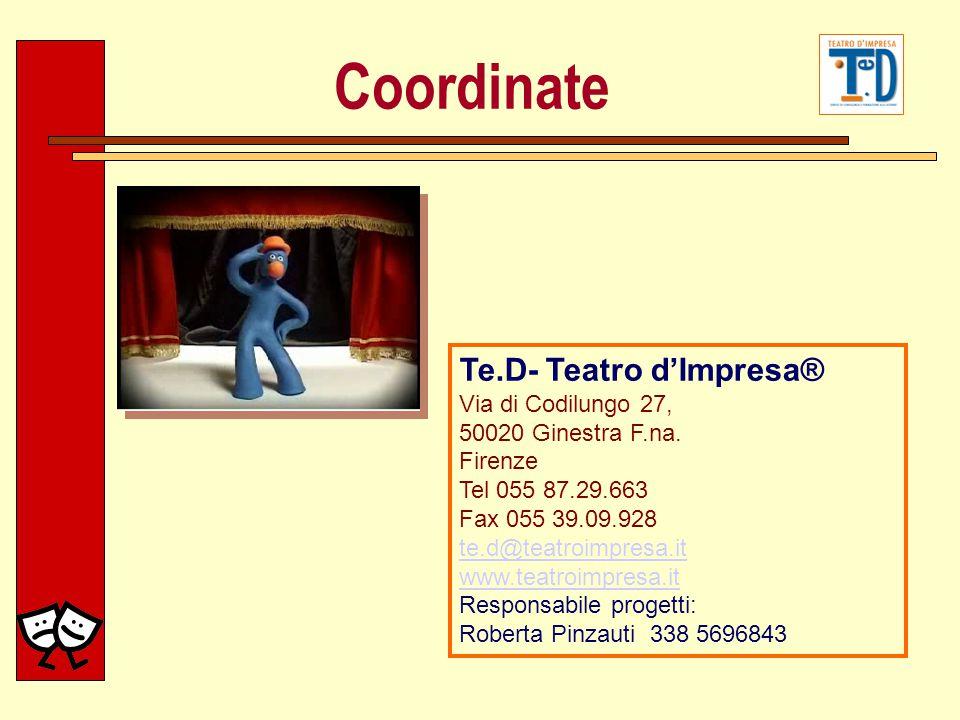 Te.D- Teatro dImpresa® Via di Codilungo 27, 50020 Ginestra F.na. Firenze Tel 055 87.29.663 Fax 055 39.09.928 te.d@teatroimpresa.it www.teatroimpresa.i