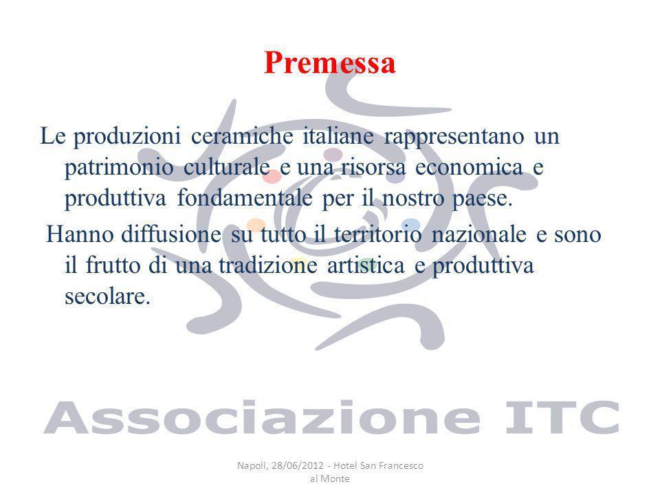 Premessa Le produzioni ceramiche italiane rappresentano un patrimonio culturale e una risorsa economica e produttiva fondamentale per il nostro paese.
