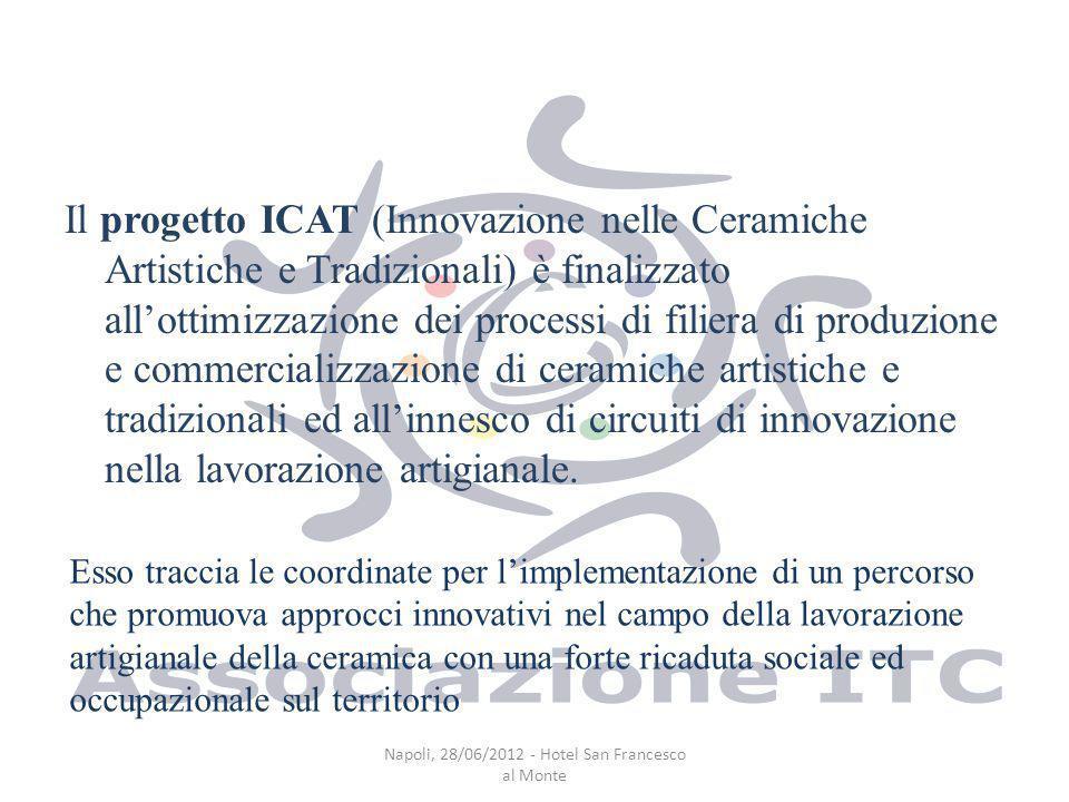 Il progetto ICAT (Innovazione nelle Ceramiche Artistiche e Tradizionali) è finalizzato allottimizzazione dei processi di filiera di produzione e commercializzazione di ceramiche artistiche e tradizionali ed allinnesco di circuiti di innovazione nella lavorazione artigianale.