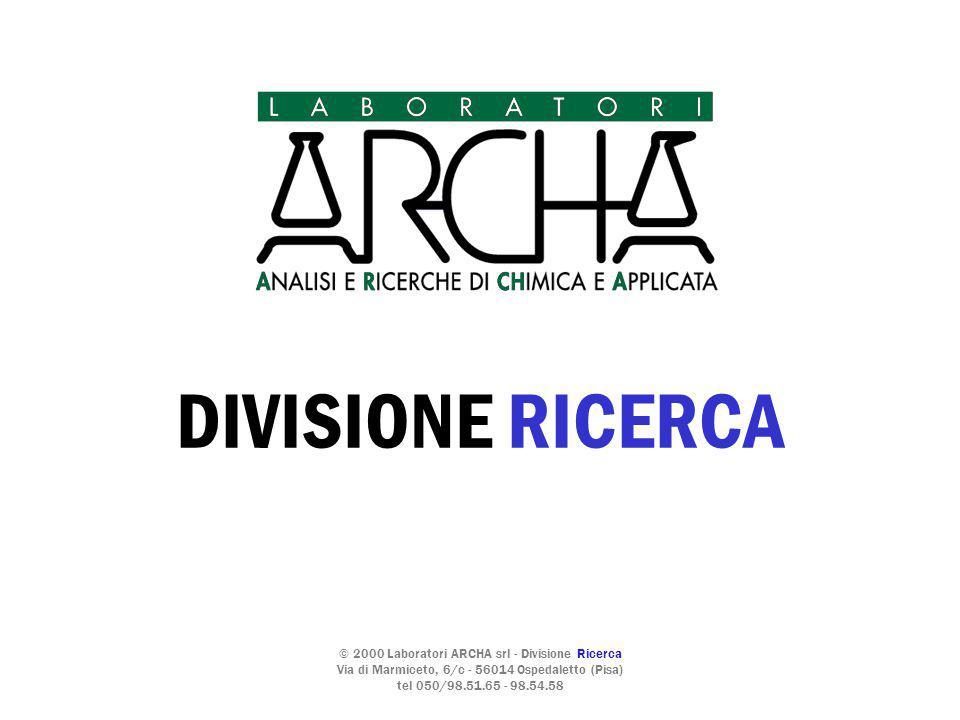 © 2000 Laboratori ARCHA srl - Divisione Ricerca Via di Marmiceto, 6/c - 56014 Ospedaletto (Pisa) tel 050/98.51.65 - 98.54.58 DIVISIONE RICERCA