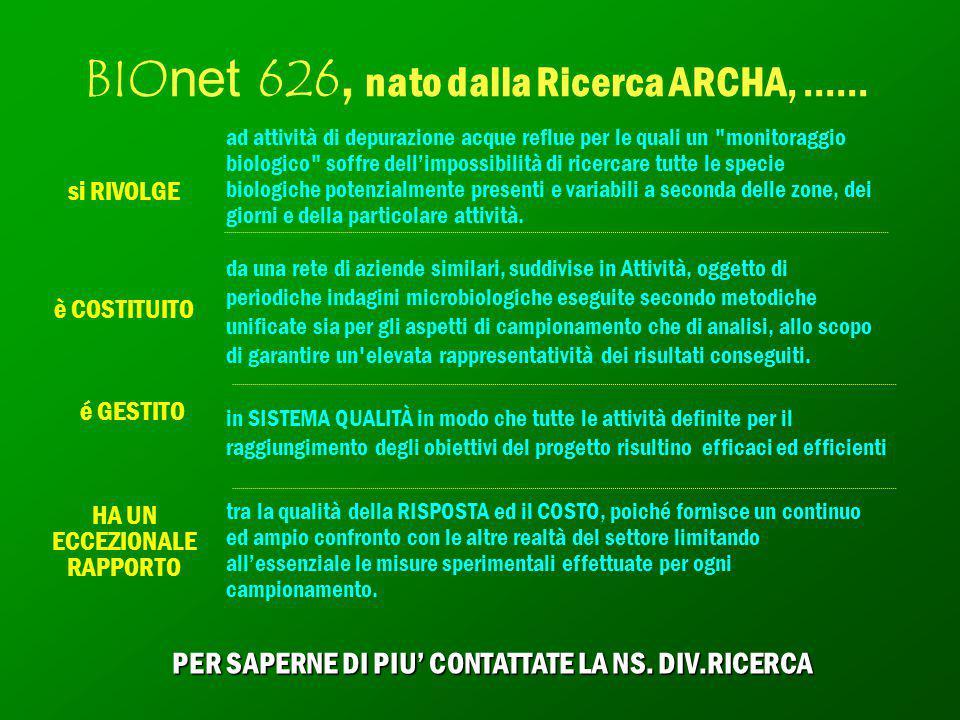 BIOnet 626, nato dalla Ricerca ARCHA, …... ad attività di depurazione acque reflue per le quali un