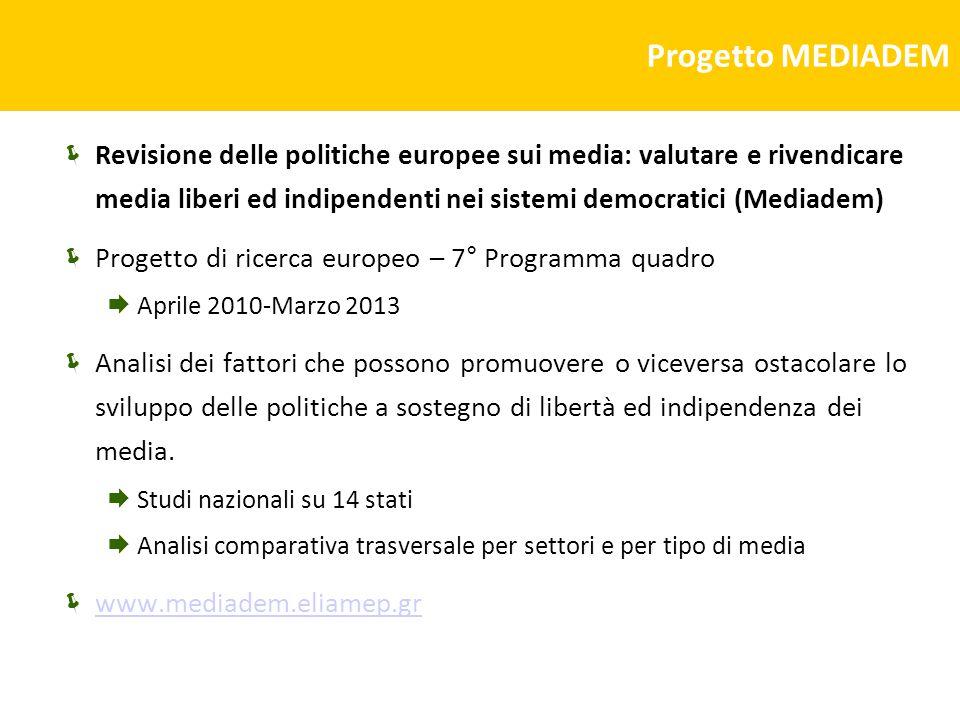 Progetto MEDIADEM Revisione delle politiche europee sui media: valutare e rivendicare media liberi ed indipendenti nei sistemi democratici (Mediadem)