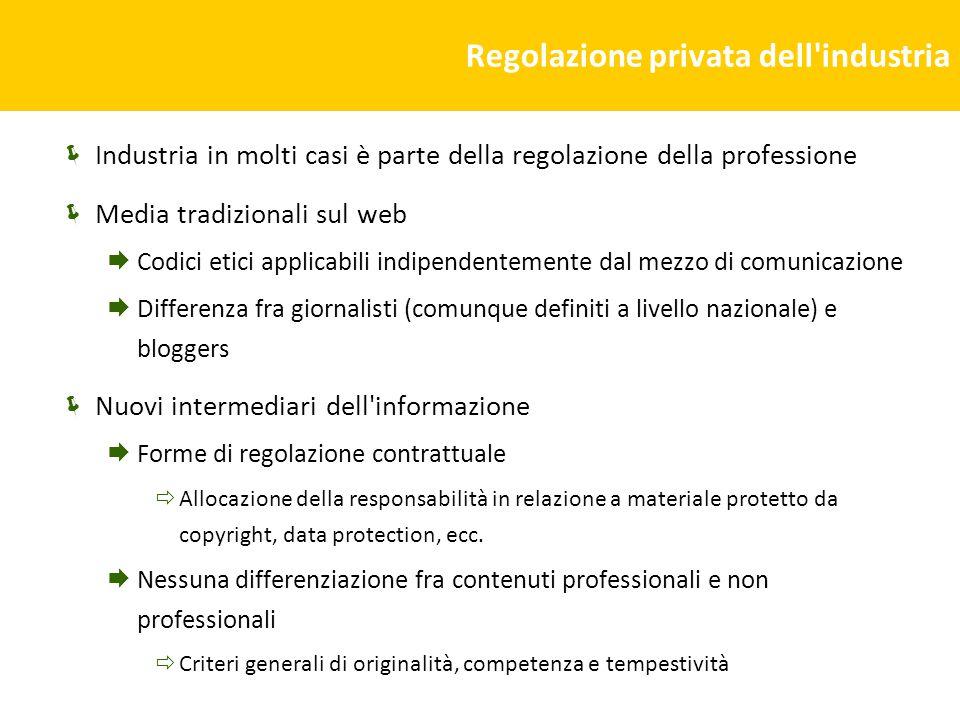 Regolazione privata dell'industria Industria in molti casi è parte della regolazione della professione Media tradizionali sul web Codici etici applica