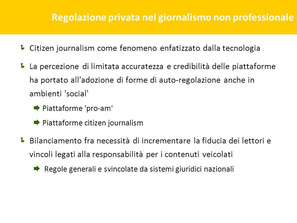 Regolazione privata nel giornalismo non professionale Citizen journalism come fenomeno enfatizzato dalla tecnologia La percezione di limitata accurate
