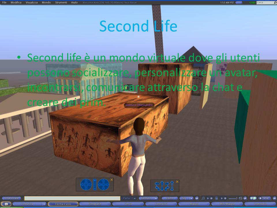 Second Life Second life è un mondo virtuale dove gli utenti possono socializzare, personalizzare un avatar, incontrarsi, comunicare attraverso la chat e creare dei prim.