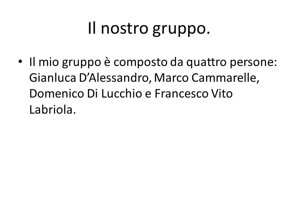 Il nostro gruppo. Il mio gruppo è composto da quattro persone: Gianluca DAlessandro, Marco Cammarelle, Domenico Di Lucchio e Francesco Vito Labriola.