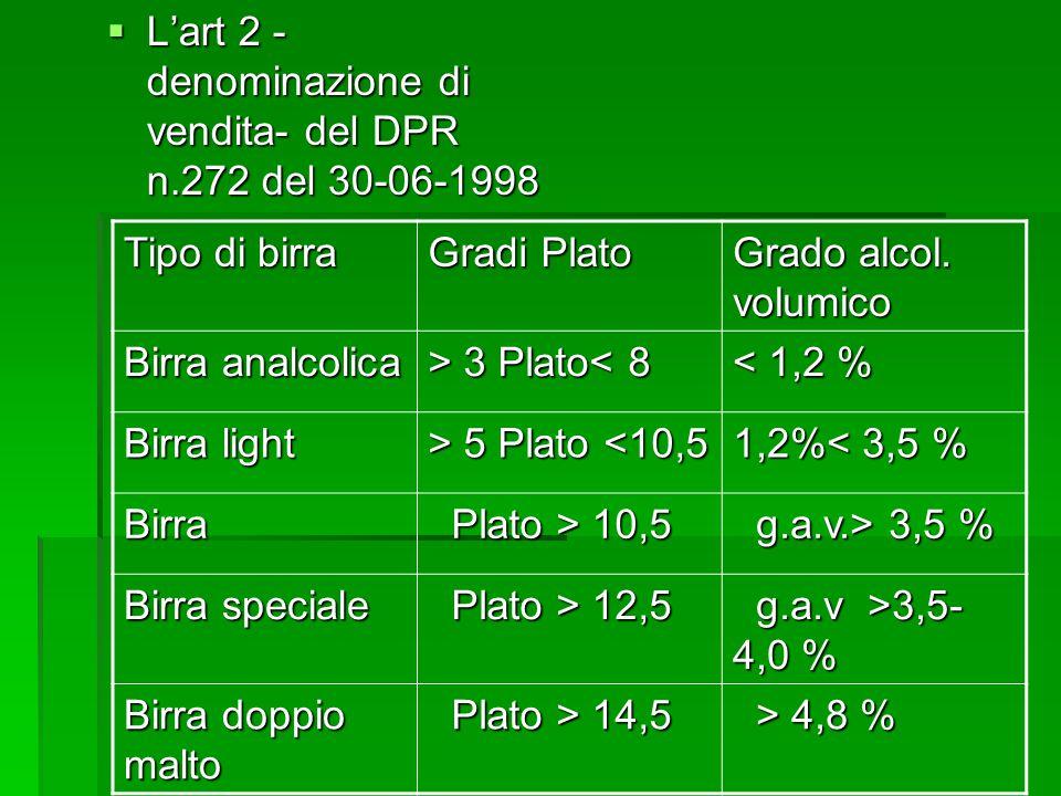 Lart 2 - denominazione di vendita- del DPR n.272 del 30-06-1998 Lart 2 - denominazione di vendita- del DPR n.272 del 30-06-1998 Tipo di birra Gradi Plato Grado alcol.
