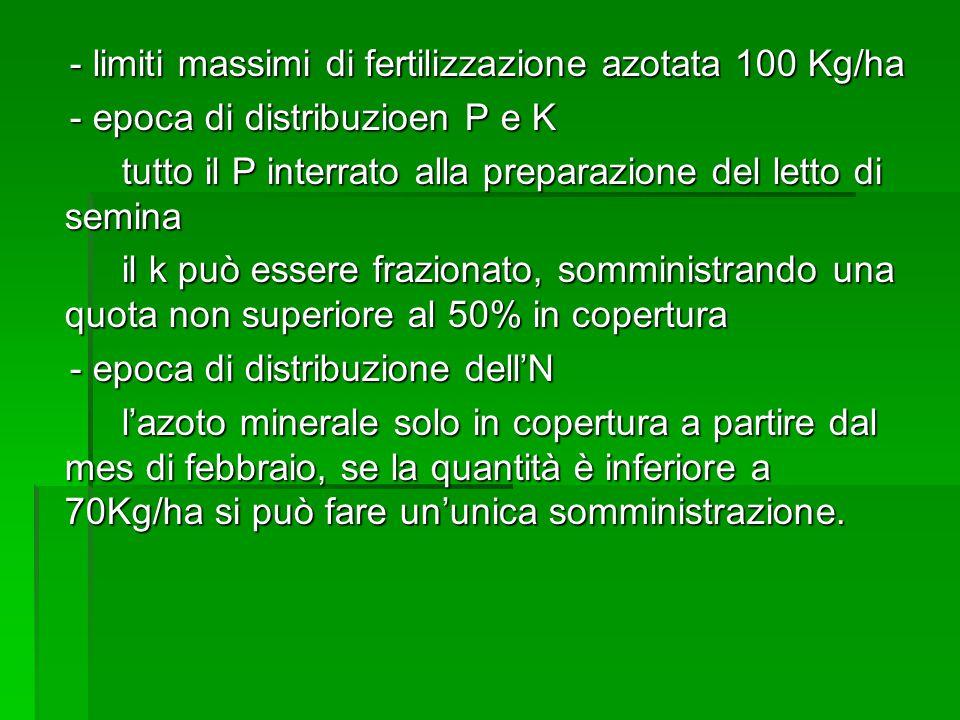 - limiti massimi di fertilizzazione azotata 100 Kg/ha - limiti massimi di fertilizzazione azotata 100 Kg/ha - epoca di distribuzioen P e K - epoca di