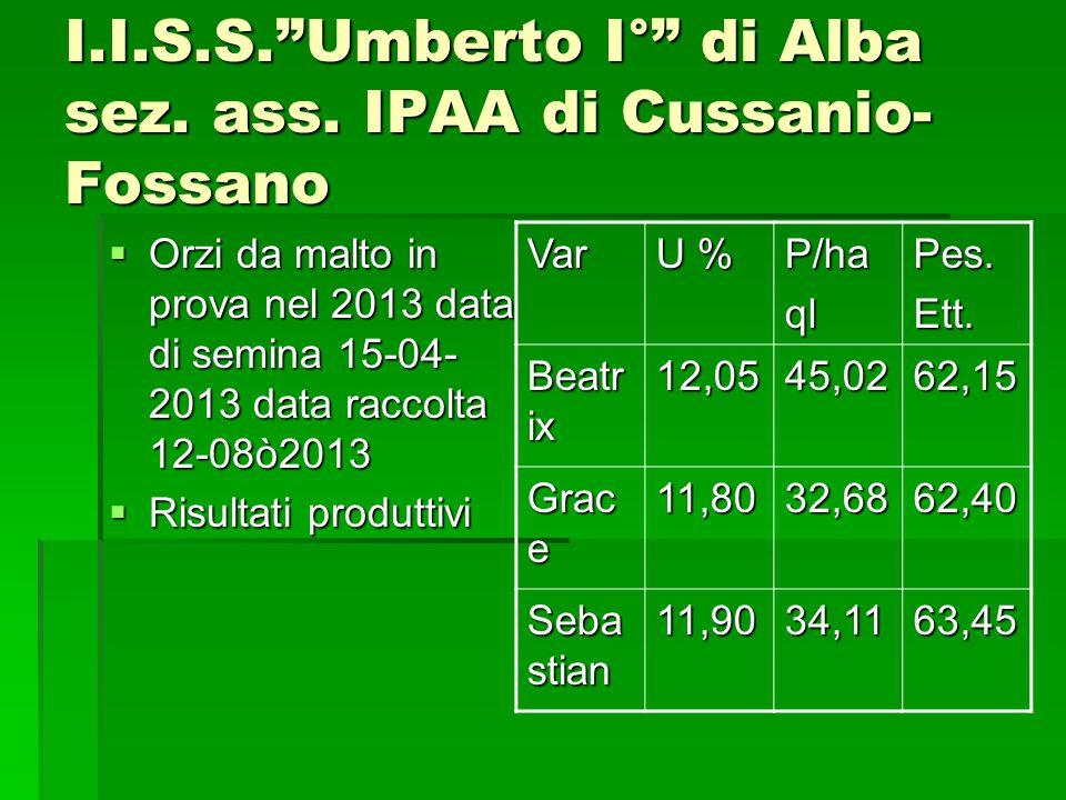 I.I.S.S.Umberto I° di Alba sez. ass. IPAA di Cussanio- Fossano Orzi da malto in prova nel 2013 data di semina 15-04- 2013 data raccolta 12-08ò2013 Orz