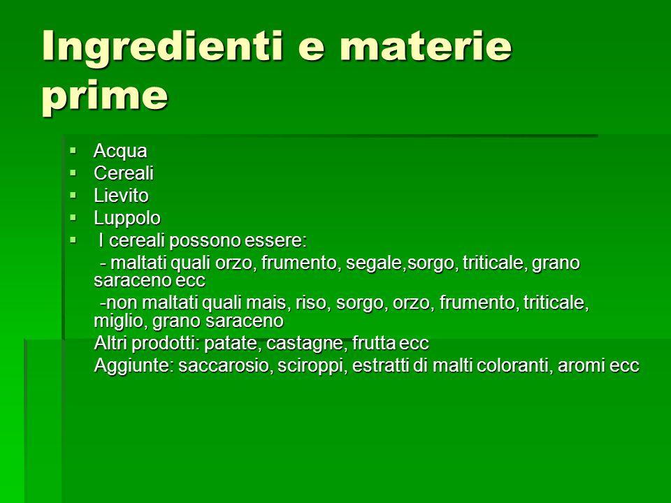 Ingredienti e materie prime Acqua Acqua Cereali Cereali Lievito Lievito Luppolo Luppolo I cereali possono essere: I cereali possono essere: - maltati