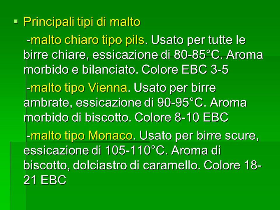 Principali tipi di malto Principali tipi di malto -malto chiaro tipo pils.