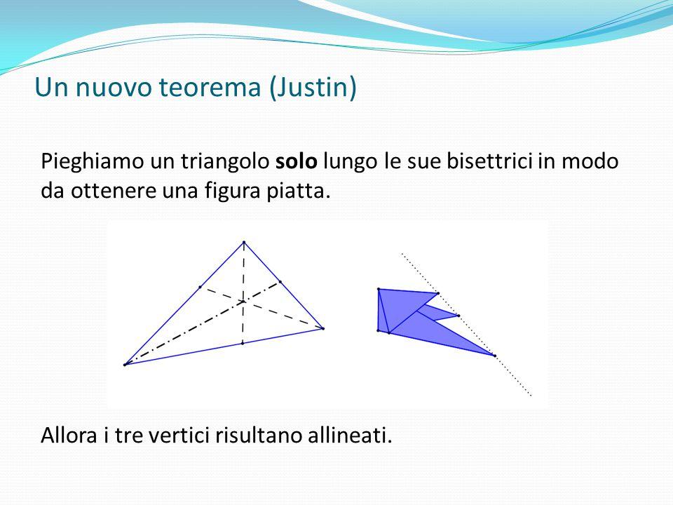 Un nuovo teorema (Justin) Pieghiamo un triangolo solo lungo le sue bisettrici in modo da ottenere una figura piatta. Allora i tre vertici risultano al