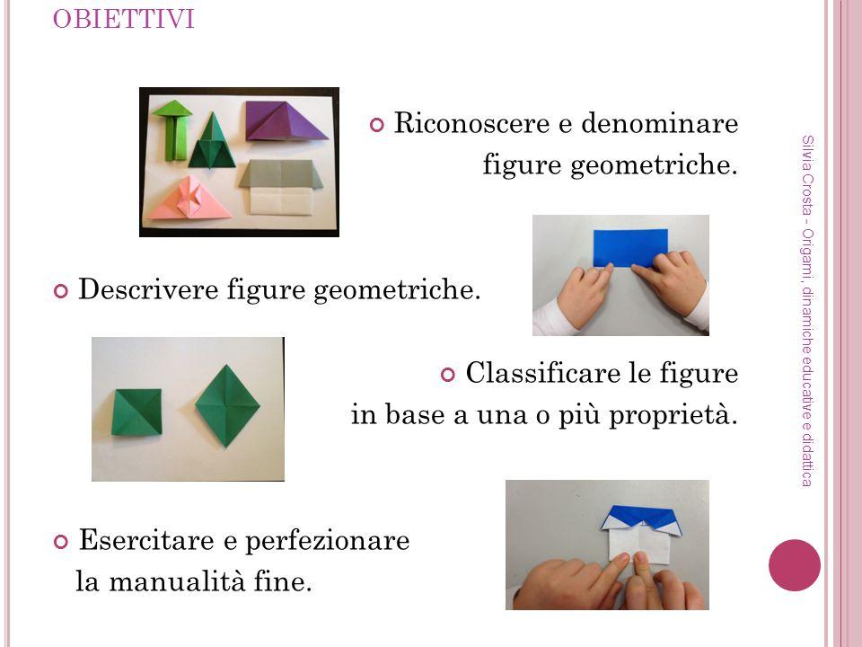 OBIETTIVI Riconoscere e denominare figure geometriche. Descrivere figure geometriche. Classificare le figure in base a una o più proprietà. Esercitare