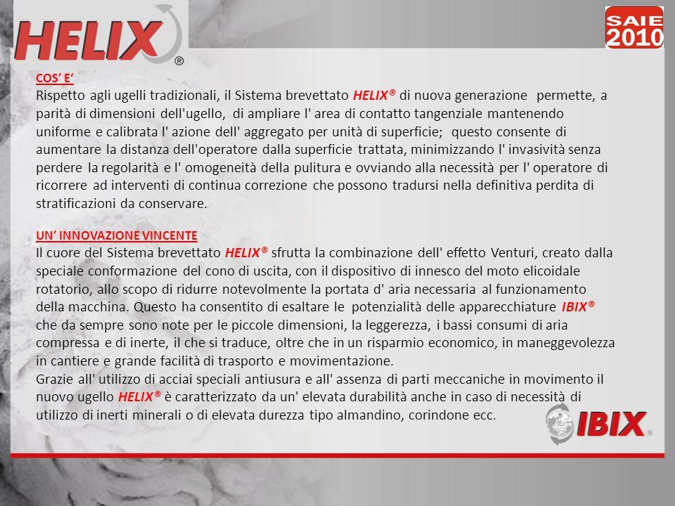 COS E Rispetto agli ugelli tradizionali, il Sistema brevettato HELIX® di nuova generazione permette, a parità di dimensioni dell'ugello, di ampliare l