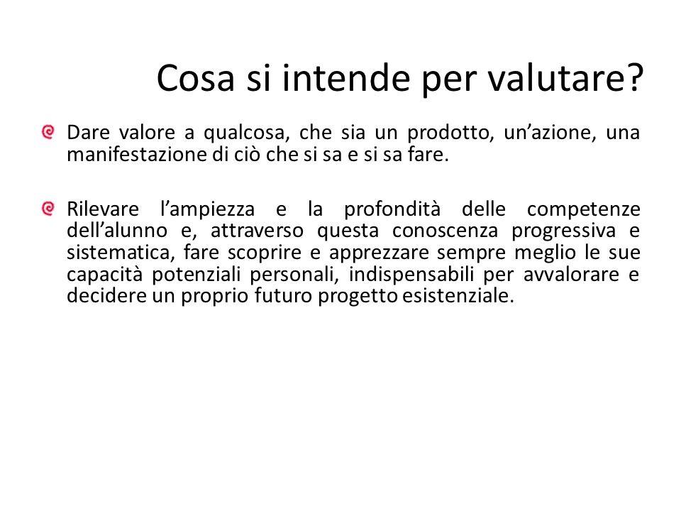 Cosa si intende per valutare? Dare valore a qualcosa, che sia un prodotto, unazione, una manifestazione di ciò che si sa e si sa fare. Rilevare lampie
