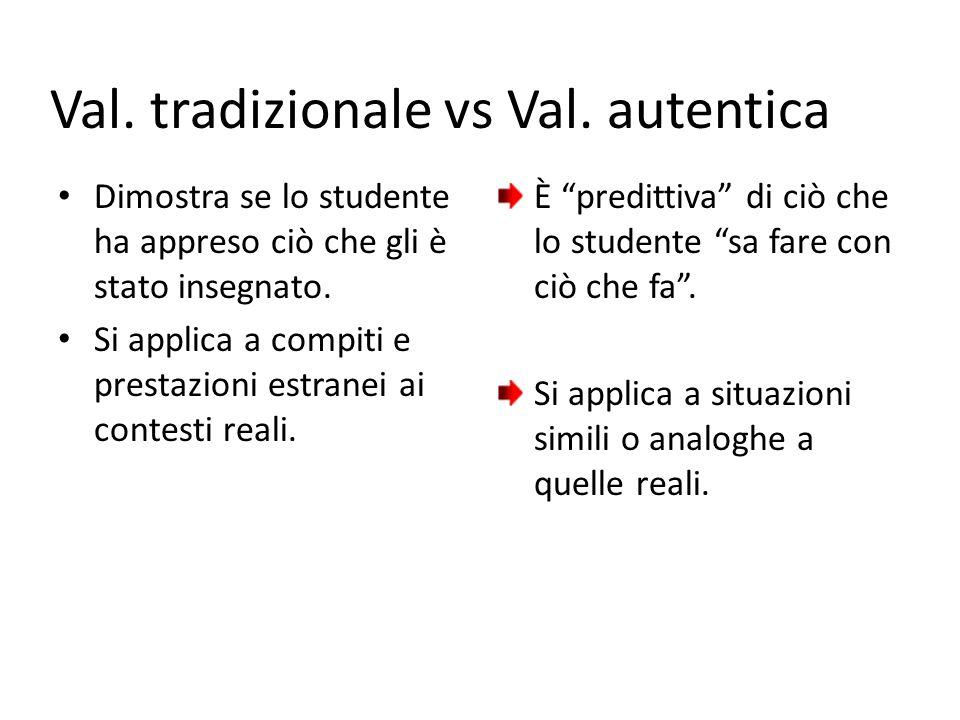 Val. tradizionale vs Val. autentica Dimostra se lo studente ha appreso ciò che gli è stato insegnato. Si applica a compiti e prestazioni estranei ai c