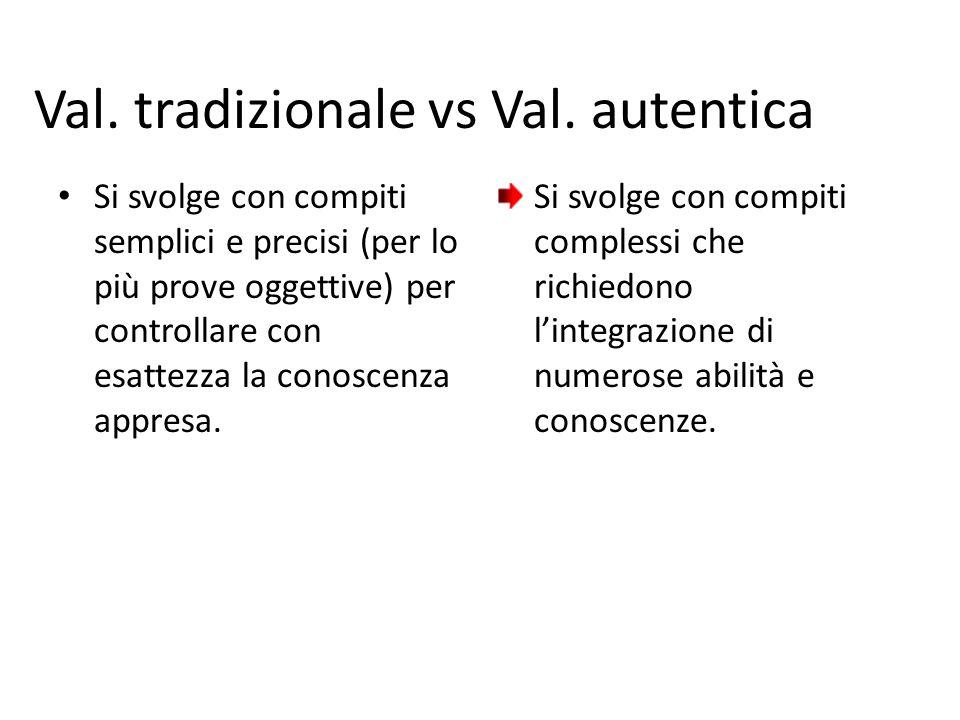Val. tradizionale vs Val. autentica Si svolge con compiti semplici e precisi (per lo più prove oggettive) per controllare con esattezza la conoscenza